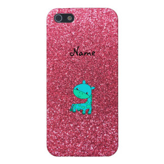 Custom name baby turquoise giraffe pink glitter cover for iPhone 5/5S