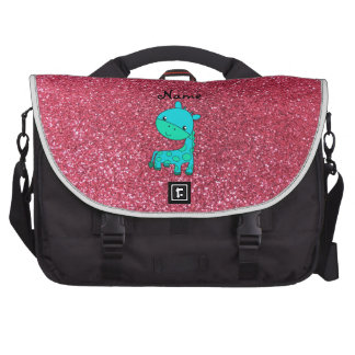 Custom name baby turquoise giraffe pink glitter laptop bags