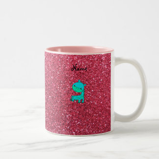 Custom name baby turquoise giraffe pink glitter mug