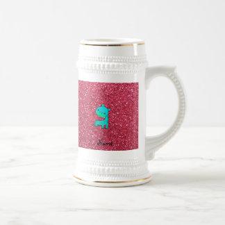 Custom name baby turquoise giraffe pink glitter mugs