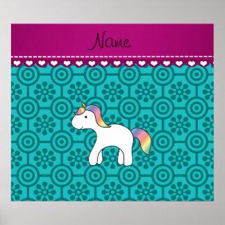 Custom name baby unicorn turquoise retro flowers poster