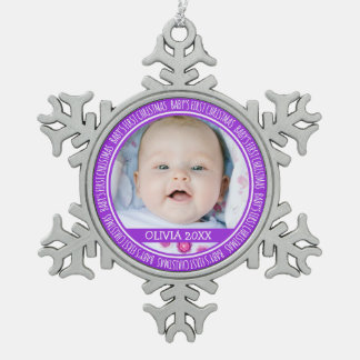 Custom Name Baby's 1st Christmas Ornament Purple