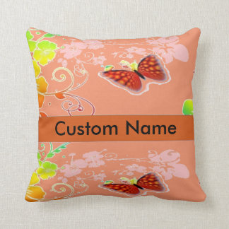 custom name/background floral butterfly pillow