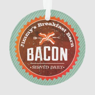 Custom name bacon breakfast Christmas ornament