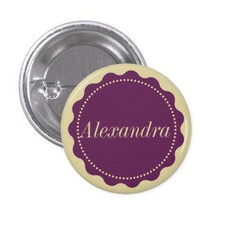 Custom name badge in purple and yellow