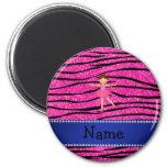 Custom name ballerina pink glitter zebra stripes 6 cm round magnet