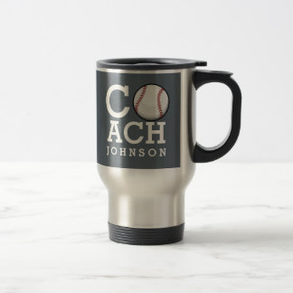 Custom Name Baseball Coach Travel Mug