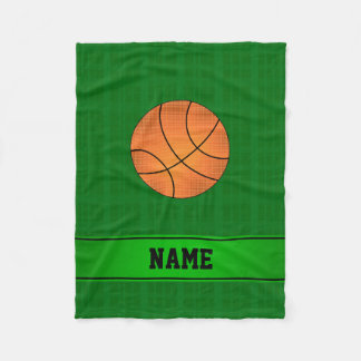 Custom name basketball green plaid fleece blanket
