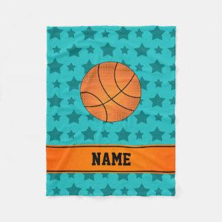 Custom name basketball turquoise stars fleece blanket