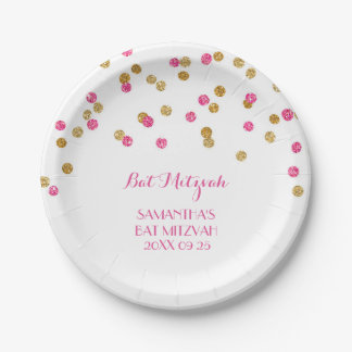 Custom Name Bat Mitzvah Plates Pink Gold Confetti