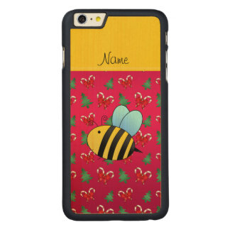 Custom name bee magenta candy canes christmas tree iPhone 6 plus case