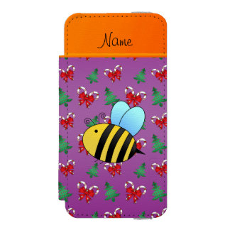 Custom name bee purple candy canes christmas trees incipio watson™ iPhone 5 wallet case