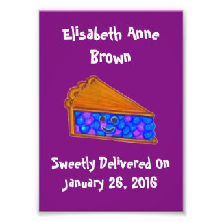 Custom Name Berry Cool Purple Pie Print Wall Print Photo