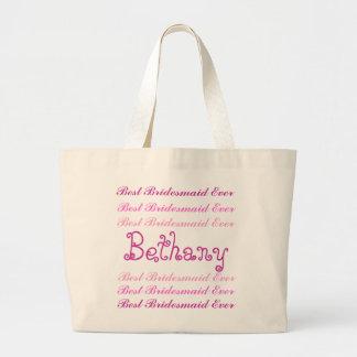 Custom Name Best Bridesmaid Ever Pink Script V2 Tote Bag