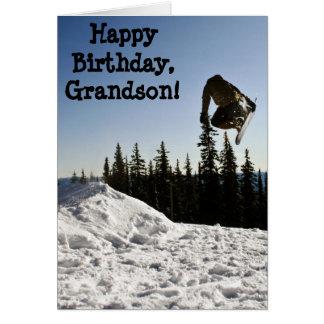 Custom Name - Birthday for Boy - Snowboarder Greeting Card