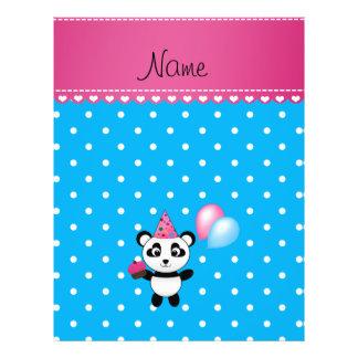Custom name birthday panda blue white dots flyer
