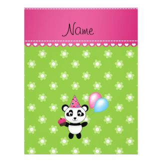 Custom name birthday panda green flowers flyer design
