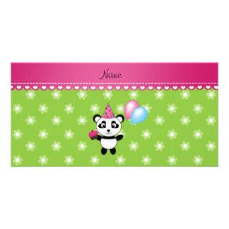 Custom name birthday panda green flowers photo card template
