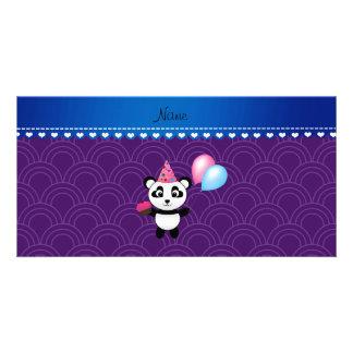 Custom name birthday panda purple half circles custom photo card
