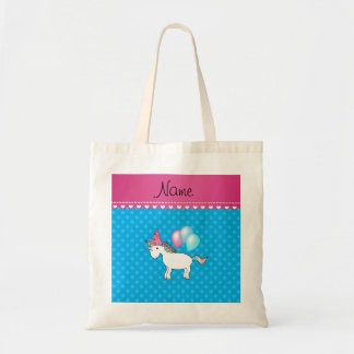 Custom name birthday unicorn blue polka dots bags