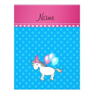 Custom name birthday unicorn blue polka dots flyer