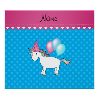 Custom name birthday unicorn blue polka dots posters