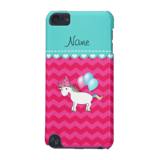 Custom name birthday unicorn hot pink chevrons iPod touch 5G cases