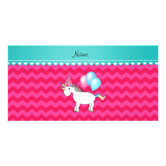 Custom name birthday unicorn hot pink chevrons customized photo card