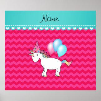 Custom name birthday unicorn hot pink chevrons print