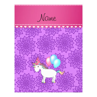 Custom name birthday unicorn pastel purple flowers flyer