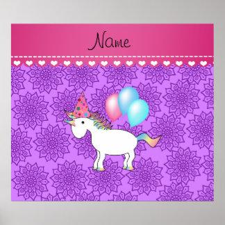 Custom name birthday unicorn pastel purple flowers posters