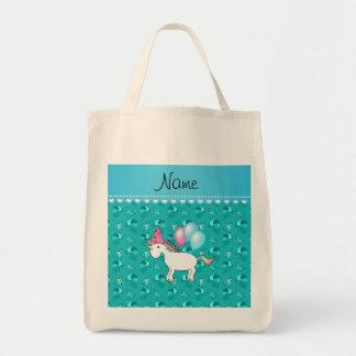 Custom name birthday unicorn turquoise party hats canvas bag