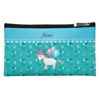 Custom name birthday unicorn turquoise party hats cosmetic bags