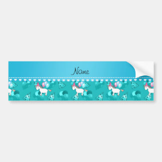 Custom name birthday unicorn turquoise party hats bumper stickers