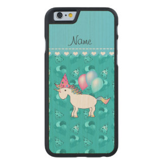 Custom name birthday unicorn turquoise party hats carved® maple iPhone 6 case