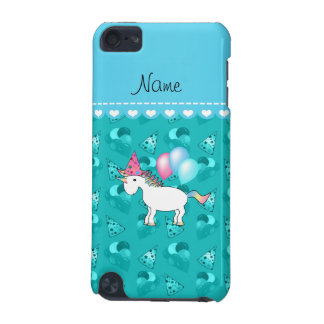 Custom name birthday unicorn turquoise party hats iPod touch 5G cover