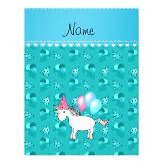 Custom name birthday unicorn turquoise party hats flyer