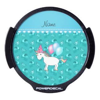 Custom name birthday unicorn turquoise party hats LED car window decal