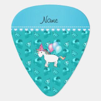 Custom name birthday unicorn turquoise party hats pick