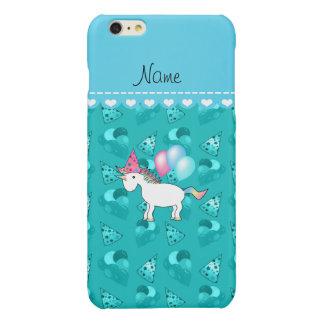 Custom name birthday unicorn turquoise party hats glossy iPhone 6 plus case