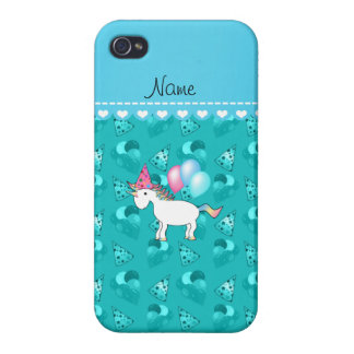 Custom name birthday unicorn turquoise party hats cases for iPhone 4