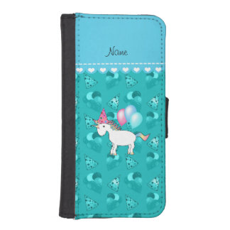 Custom name birthday unicorn turquoise party hats phone wallet