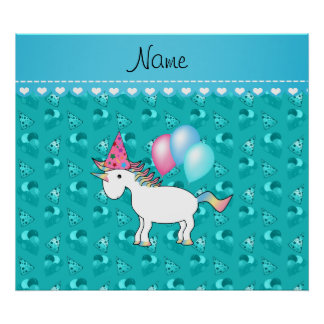 Custom name birthday unicorn turquoise party hats print