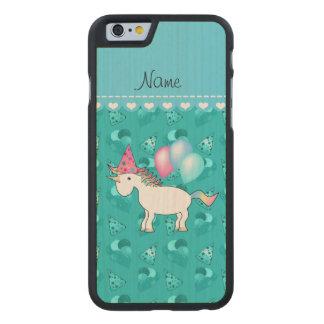 Custom name birthday unicorn turquoise party hats carved® maple iPhone 6 slim case
