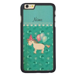 Custom name birthday unicorn turquoise party hats iPhone 6 plus case