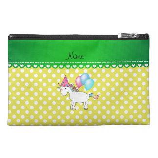 Custom name birthday unicorn yellow dots travel accessories bags