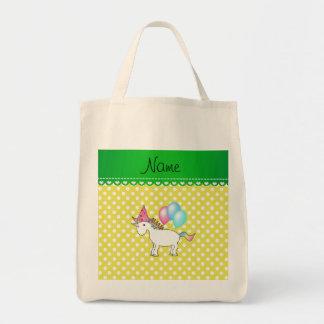 Custom name birthday unicorn yellow dots tote bag