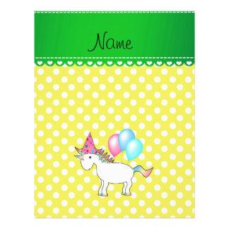 Custom name birthday unicorn yellow dots flyers