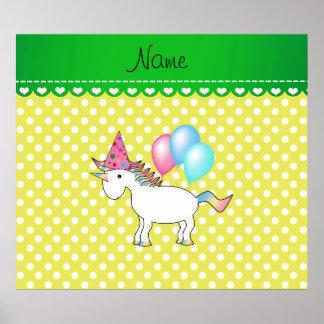Custom name birthday unicorn yellow dots print