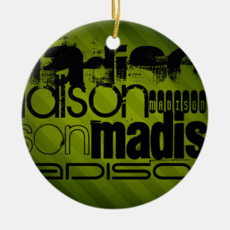 Custom Name, Black and Olive Green Christmas Ornament